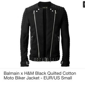 Balmain x H&M black quilted cotton motor jacket